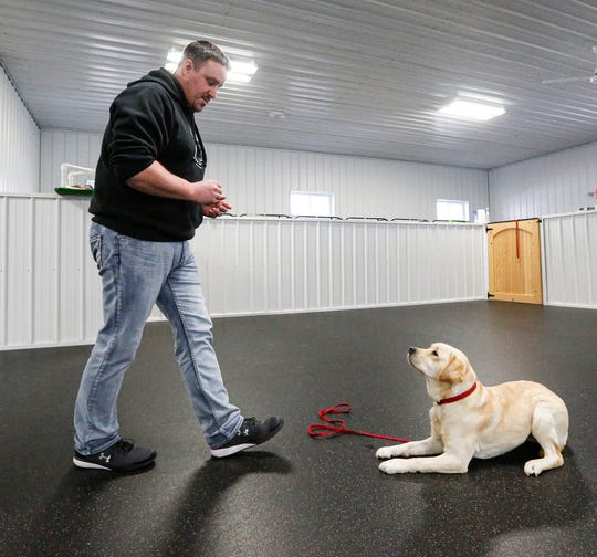 """Professional dog trainer Jake Guell trains a service dog Tuesday, Jan. 28, 2020, in his training facility """"Tail for Life"""" near Fond du Lac, Wis."""