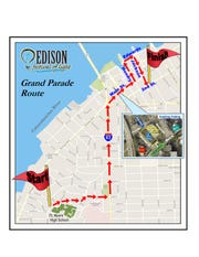 The parade route for the 2020 Edison Festival of Light