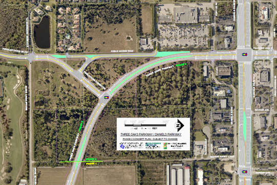 Three Oaks Parkway extension will replace the current intersection of Fiddlesticks Boulevard and Three Oaks.  Fiddlesticks traffic will be diverted onto Three Oaks at a traffic signal at the bottom of a triangle intersection. The former Fiddlesticks will be used as an access road to the Publix Super Market.