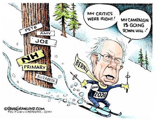 Bernie skis in New Hampshire.