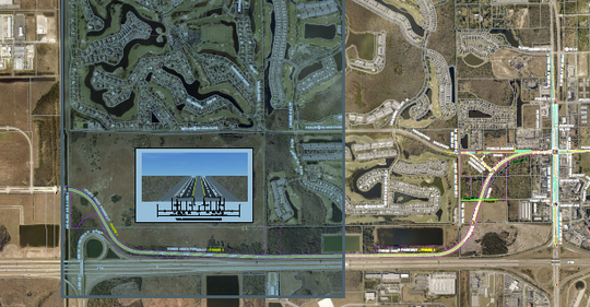 Path of Three Oaks Parkway extension from Fiddlesticks, at left of shaded area, to Daniels Parkway, at right. The new roadway will be parallel to Interstate 75 for much of its route.  