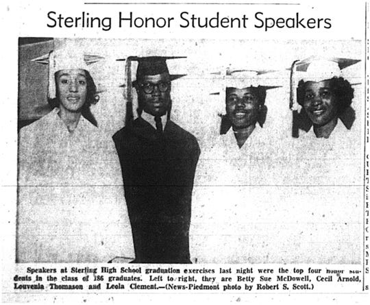 In this clipping from The Greenville News on June 2, 1962, speakers at Sterling High School graduation exercises last night were the top four honor students in the class of 186 graduates. Left to right, they are Betty Sue McDowell, Cecil Arnold, Louvenia Thomason and Leola Clement.