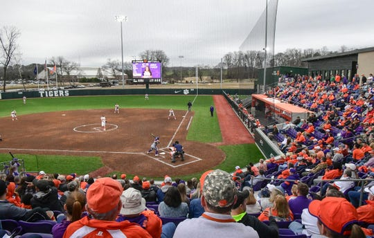 Clemson fans watch during the top of the fifth inning of the home opening game with Western Carolina at Clemson Softball Stadium in Clemson February 12, 2020.