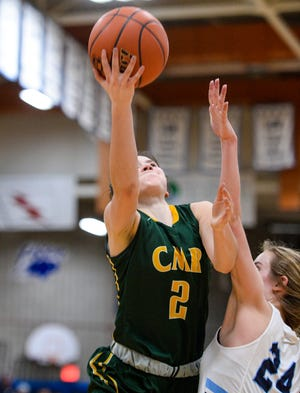 CMR's Lauren Lindseth attempts a layup during the crosstown basketball game against Great Falls High last month.