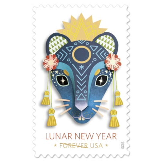 The stamp designed by Ithaca artist Camille Chew.