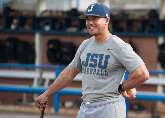 Jackson State University head baseball coach Omar Johnson works out with the Tigers during practice Wednesday, Feb. 12, 2020.