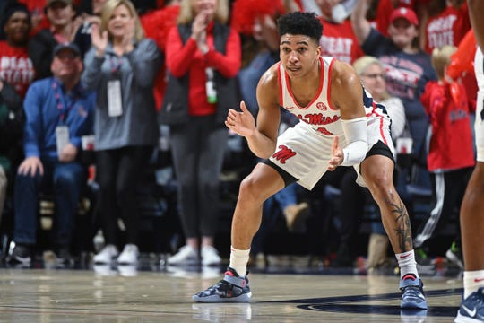 Mississippi guard Breein Tyree (4) reacts during the second half of an NCAA college basketball game against Mississippi State in Oxford, Miss., Tuesday, Feb. 11, 2020. Mississippi won 83-58. (AP Photo/Thomas Graning)
