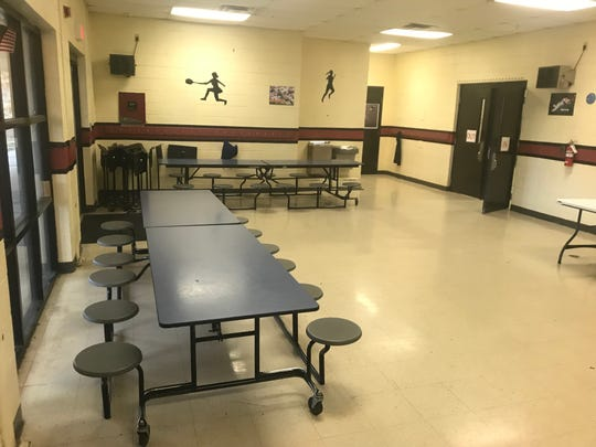 The tables in the gym lobby at Pope Elementary School are where band students get their instruction while learning how to play their instruments.