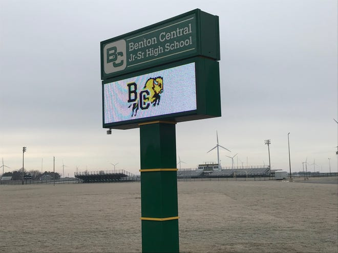 A sign for Benton Central Jr./Sr. High School in Oxford, IN, part of Benton Community School Corporation.