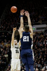 Purdue guard Sasha Stefanovic (55) goes up for three during the first half of a NCAA men's basketball game, Tuesday, Feb. 11, 2020 at Mackey Arena in West Lafayette.