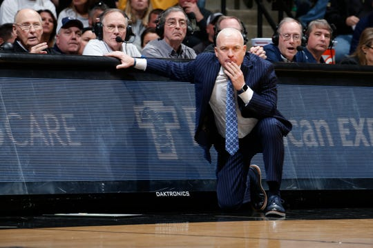 Feb 11, 2020; West Lafayette, Indiana, USA;   Penn State Nittany Lions coach Pat Chambers looks on from the sidelines during the second half against the Purdue Boilermakers at Mackey Arena. Mandatory Credit: Brian Spurlock-USA TODAY Sports