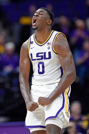 LSU forward Darius Days (0) celebrates making a crucial rebound and putback to score late in the second half of an NCAA college basketball game, Tuesday, Feb. 11, 2020, in Baton Rouge, La. LSU won 82-78.