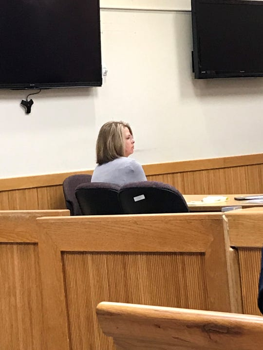 Deborah Anderson listens to witnesses on Feb. 12, 2020 during her trial. She is charged with a moving violation causing death.