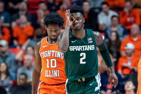 Feb 11, 2020; Champaign, Illinois, USA; Michigan State Spartans guard Rocket Watts (2) celebrates next to Illinois Fighting Illini guard Andres Feliz (10) after making a three point shot during the first half at State Farm Center. Mandatory Credit: Patrick Gorski-USA TODAY Sports