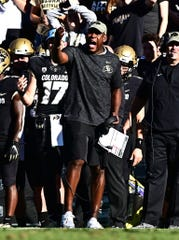 Colorado Buffaloes head coach Mel Tucker calls out in the second quarter against the Stanford Cardinal at Folsom Field.
