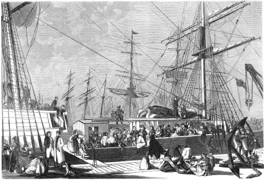 Last morning before departure, Bremerhaven, Germany, 1866.
