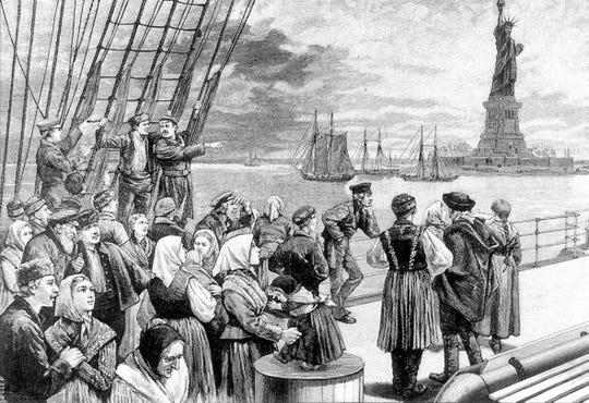 German immigrants arrive in New York in 1866.