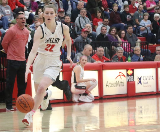 Shelby senior Emma Randall scored 21 points in a big nonconference win over Bellevue to improve to 20-1 on the year.