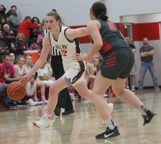 Shelby's Emma Randall leads the Lady Whippets into battle against Lexington on Saturday.