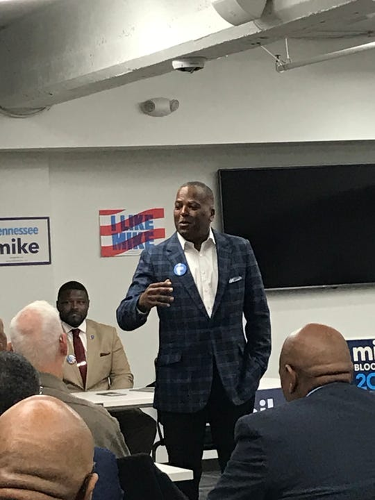 Columbia, South Carolina, Mayor Steve Benjamin addresses a room of Memphis voters as he stumps for former New York City Mayor Mike Bloomberg in Memphis.