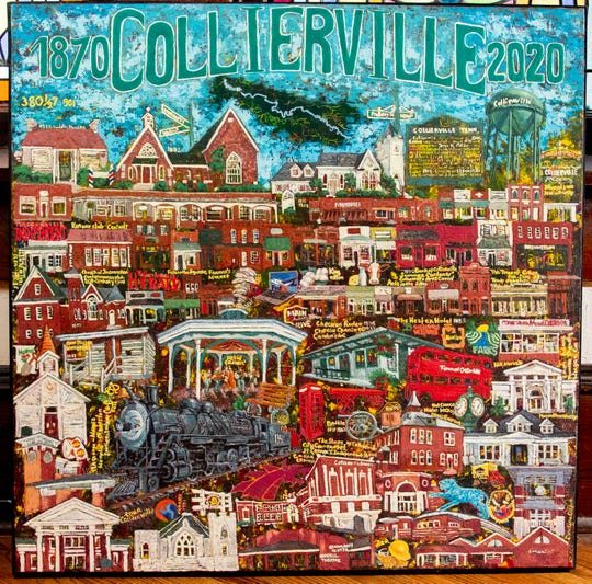 Evelina Dillon's Collierville painting Monday, Feb. 10, 2020, at the Morton Museum in Collierville.