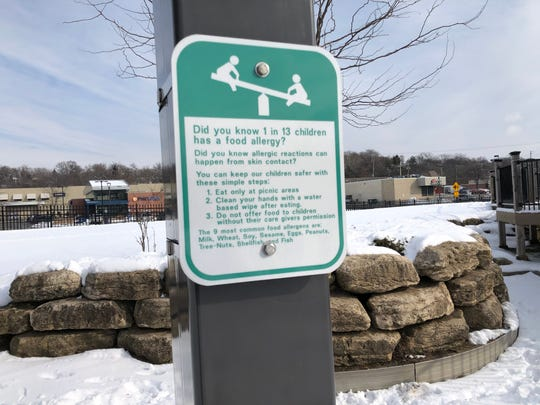 Two food allergen awareness signs were placed at Hart Park, 7300 Chestnut Street, while one was placed at Webster Park, 4521 N. Mayfair Rd., in Wauwatosa.