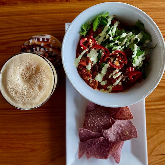 """""""Public Table Chili"""" from Public Table in West Allis is vegetarian, and has red and green bell peppers, onion, celery, organic red sauce, spices, clinatro, creme fraiche, and pickled fresno chili's. It's served with non-GMO blue corn chips."""