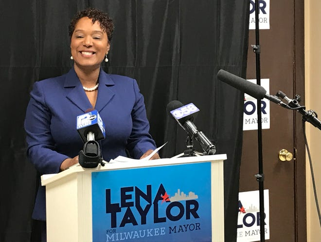 State Sen. Lena Taylor is running for Milwaukee mayor against incumbent Tom Barrett and offered her own State of the City address Wednesday at her campaign headquarters.