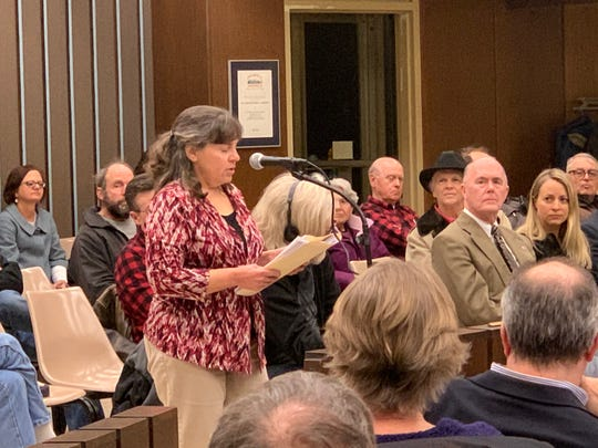 Mary Emery, president of the Waukesha Preservation Alliance, speaks during the public comments segment prior to the start of a hearing on the Moor Mud Baths on Feb. 11 at Waukesha City Hall. Emery, a staunch supporter of the historic resort property that the county has owned since 1972, argued the property is too important to demolish.