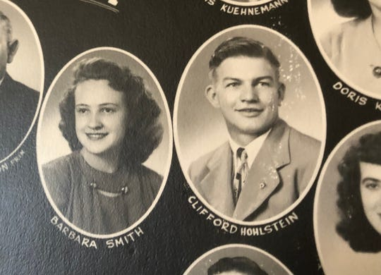 A yearbook photo from Poynette High School, which shows Barbara Smith and Clifford Hohlstein