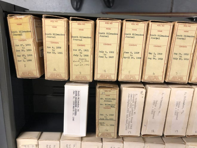 The South Milwaukee Library has three drawers of microfilm but none if it can be read because the reader and printer are broken. An effort is underway to digitize the microfilm which includes newspapers from 1892 to 2006 along with some census information.