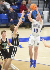 Mountain Home's Mat Jones shoots a jumper against Greene County Tech on Tuesday night.