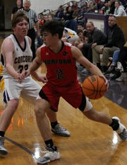 Norfork's Tyler Sorters looks to drive baseline against Concord on Tuesday night.