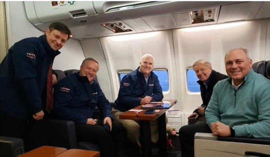 Louisiana Congressman Mike Johnson, North Carolina Congressman Mark Meadows, National Republican Congressional Committee Chairman Tom Emmer, South Carolina Sen. Lindsey Graham and House Minority Whip Steve Scalise depart New Hampshire Tuesday via Air Force One.