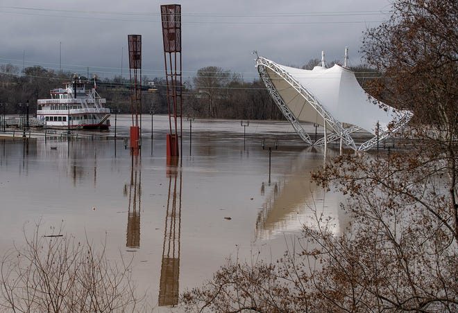 The Alabama River floods Riverfront Park in Montgomery, Ala., on Wednesday February 12, 2020.