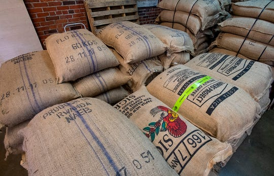 Coffee arrives to be roasted at the Prevail coffee roasting facility in Montgomery, Ala., on Wednesday February 12, 2020.