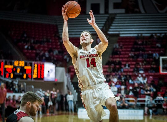 FILE -- BSU senior forward Kyle Mallers competes for the Cardinals during a game against NIU at Worthen Arena on Feb. 11, 2020.