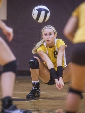 FILE -- Cowan senior Valorie Flick digs a ball during their match against Monroe Central on Sept. 4, 2014.