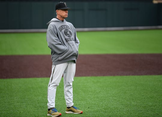 Vanderbilt baseball coach Tim Corbin watches his players during practice at Hawkins Field on Tuesday.