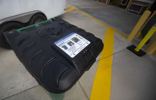 A bear-resistant container is on display at the North Naples Recycling Center on Wednesday, February 12, 2020. The containers will be sold at a subsidized price to any Collier resident.