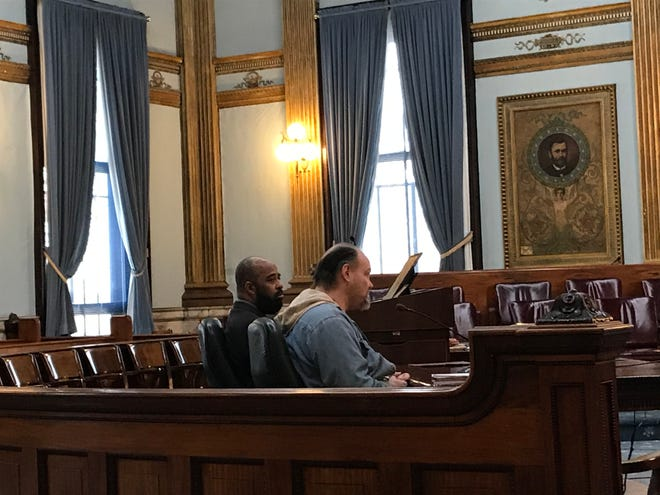 Dale Matson (center) enters a guilty plea during a change of plea and sentencing hearing in Licking County Common Pleas Court on Wednesday, Feb. 12, 2020. Matson was sentenced to four years in prison after he led a police chase through North 21st Street in August.