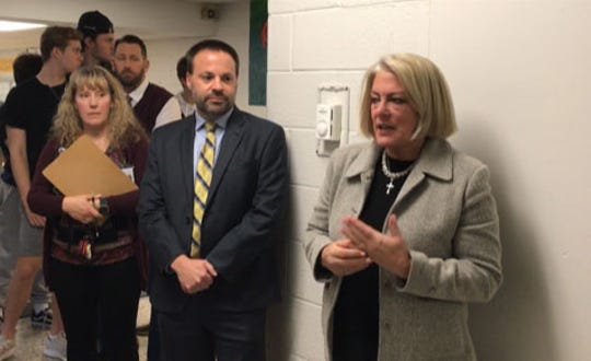 Indian Hills teacher Jill Fackelman and Principal Gregory Vacca as Ramapo Indian Hills Superintendent Beverly Mackay discusses unveiling of a distracted driver mural last month.  Mackay will retire from the district in August.