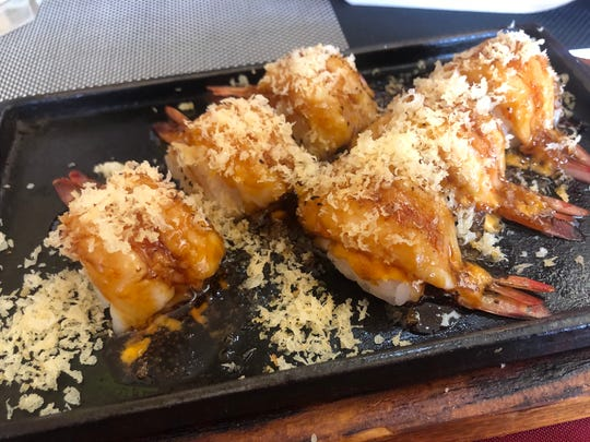 The shrimp balls at Ms Sushi are scorched on top.