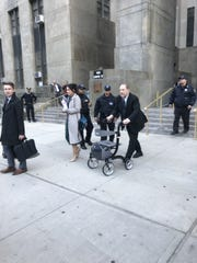 Disgraced former Hollywood film mogul Harvey Weinstein leaves New York State Supreme Court in Manhattan on Feb. 3, 2020 after listening to testimony in his trial for rape and sexual assault.  Weinstein's lawyers say he uses a walker because of recent back surgery