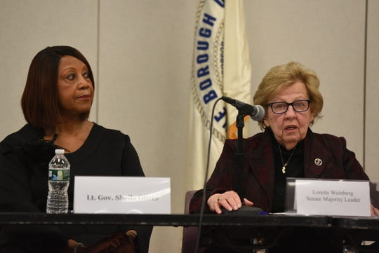 Senate Majority Leader Loretta Weinberg, D-Bergen, on right, shown with panel member Lt. Gov. Sheila Oliver, formed the Workgroup on Harassment, Sexual Assault and Misogyny in New Jersey Politics. Sen. Weinberg speaks at the first public hearing at the Fort Lee Community Center on Tuesday, Feb. 11, 2020.