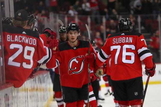 Feb 11, 2020; Newark, New Jersey, USA; New Jersey Devils center Jack Hughes (86) celebrates his goal during the first period of their game against the Florida Panthers at Prudential Center.