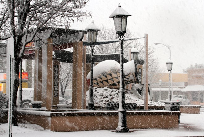 Leyendecker Plaza put on a winter coat on Tuesday in Deming, NM.