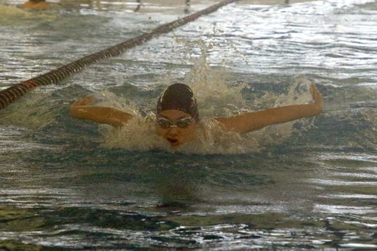 Carlsbad freshman Sophia Corder works on her butterfly stroke during practice on Feb. 11, 2020. On Feb. 9 at the district swim meet Corder finished the 100-yard butterfly with a time of 58.84, breaking the 2003 record of 59.38 set by Michael Carriaga.