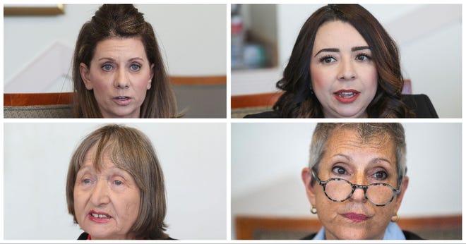 (Clockwise) State Senate candidates Melissa Melendez, Elizabeth Romero, Joy Silver and Anna Nevenic