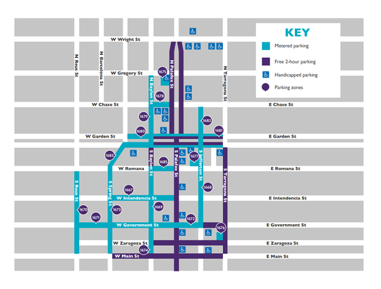 Downtown Pensacola's parking map shows the free and paid parking zones.